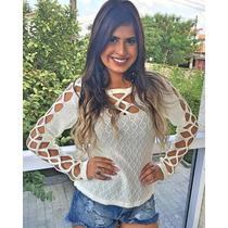 Blusa Feminina De Tricot Trançada Blusa De Frio De Lã