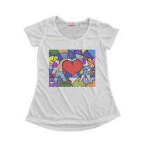 Blusinha Camiseta T-shirt Feminina Heart Kids Romero Britto