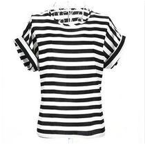 Blusa De Seda Estampa Listras Preto E Branco