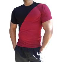 Camisa Básica Gola Careca Duas Cores Masculina Manga Curta