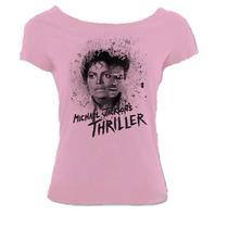 Camiseta Michael Jackson Rei Pop Thriller Canoa Rosa 02