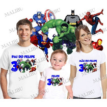 Lembrança De Aniversario Herois Camiseta Vingadores Com 3