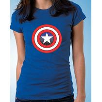Camiseta Feminina Baby Look Capitão América 100% Algodão