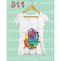 Camiseta Blusa Tshirt Feminina Amuleto Hamsá Mão De Fatima