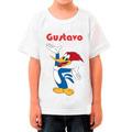 Camiseta Pica-pau Infantil Com Nome Da Criança