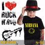 Camisetas Nirvana Infantil Preta Rock Roll