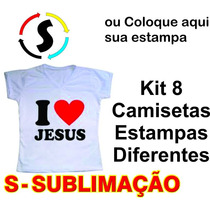 8 Peça Camiseta Camisa Personalizada Estampa Frente Sublimac
