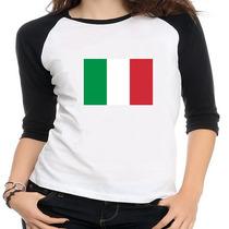 Camiseta Raglan Bandeira Itália - Feminina