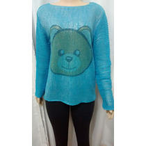 Blusa De Frio Feminina De Lã Trico Cardigã Urso Ted Brilhant