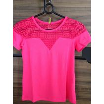 Blusa Em Viscolycra Pink Rendada Tamanhos P, M E G