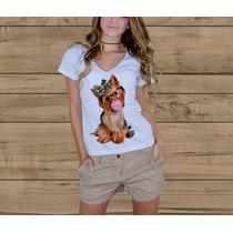 Camiseta T-shirt Feminina - Baby Look Decote V Profundo
