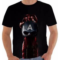 Camiseta Civil War Guerra Civil Iron Man Capitão America