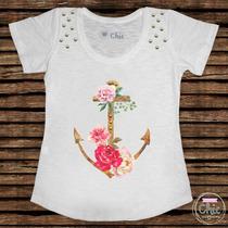 T-shirt Feminina Ancora - Vários Tamanhos E Estampas