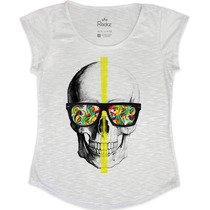 Blusa - T Shirt - Feminina Caveira Psicodélica