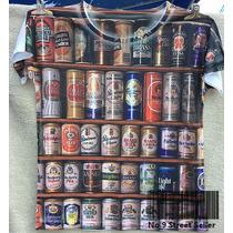 Camiseta Retrô Latinhas De Cerveja Vintage Rock