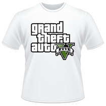 Camiseta Gta V 5 Branca Video Game Jogo Camisa #02