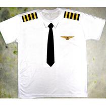 Camiseta Piloto De Avião Fantasia Carnaval Criativas