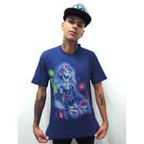 Camiseta Skull Dj Azul Psicodelia
