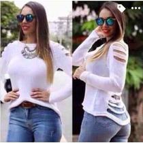 Blusa Tricot Destroyed Tiras Sueter Moda Várias Cores