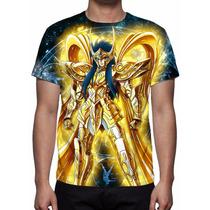 Camisa, Camiseta Cavaleiro Camus De Aquário Armadura Divina