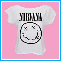 Blusa Feminina Infantil Nirvana, Rock, Banda, Música