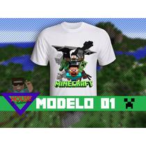 Camiseta Minecraft Personalizada! Steve+monstros!lançamento!