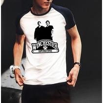 Camiseta Raglan Manga Curta Supernatural Winchester Sam Dean