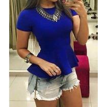 Peplum Bandagem Blusinha Feminina Modela O Corpo Blusa Linda