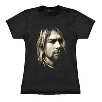 Camiseta Baby Look Feminina Kurt Cobain Stamp