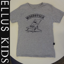 Camiseta Ellus Kids Meninos Manga Curta Woodstock - Cinza
