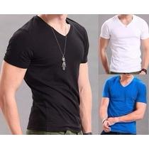Camiseta Básica Lisa Gola V 100% Algodão Cor Preta