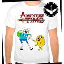 Camiseta Hora De Aventura Infantil Adulto Finn Jake Desenho