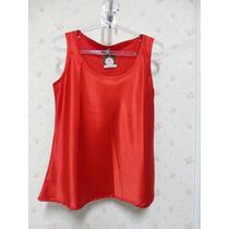 Blusa De Cetim Vermelha - Blusinha Feminina - Regata