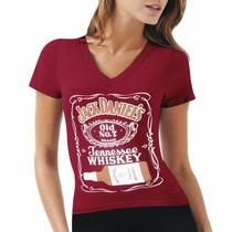 Blusa Camiseta Baby Look Feminina Jack Daniels Whiskey Vinho