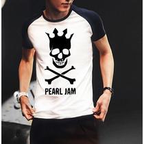 Camiseta Raglan Manga Curta Pearl Jam Banda De Rock