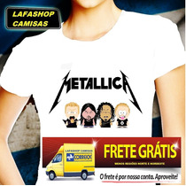 Camiseta Metallica South Park Camisa Baby Look Feminina Moca