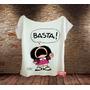 Camiseta Feminina Gola Canoa Mafalda Basta Frida Kahlo Quino