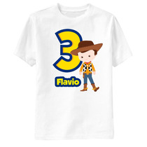 Camiseta Toy Story Woody Aniversário Personalizada