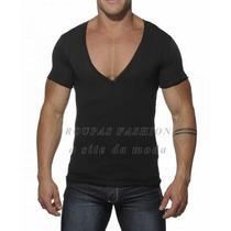 Blusa Masculina Camiseta Regata Gola V Gola Profunda Malha