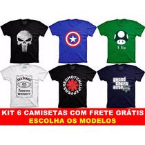 Kit 6 Camisetas Engraçadas Bandas Super Heróis Seriados Game