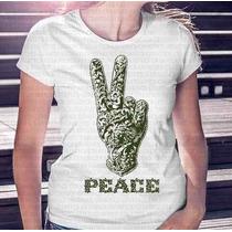 Camiseta Mais Barata Do Ml Feminina Peace