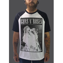 Raglan Guns N Roses Camisetas Moletom Bandas Rock Axl Slash