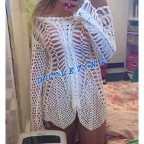 Vestido Saída Praia Trico Croche 2 Bicos Importada No Brasil