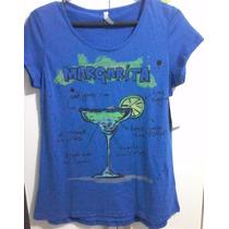 Camiseta, Feminina, Algodão, Tex, Azul, Estampa, Drink