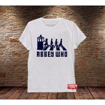 Camiseta Masculina Doctor Who Beatles Rock Série Abbey Road