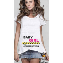 Camiseta Gestante Gravida Baby Construction Feminina