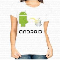 Camiseta Basica Feminina Android Mijando Na Apple