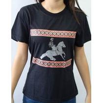 Baby Look Feminina Estilo Camiseta Estampada Cavalo Crioulo
