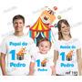 Lembrança De Aniversário Circo Palhaço Camisetas Kit 3 Uni