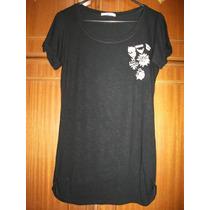 Camiseta Pool Riachuelo Blusa Preta Estampa Medalha Strass M